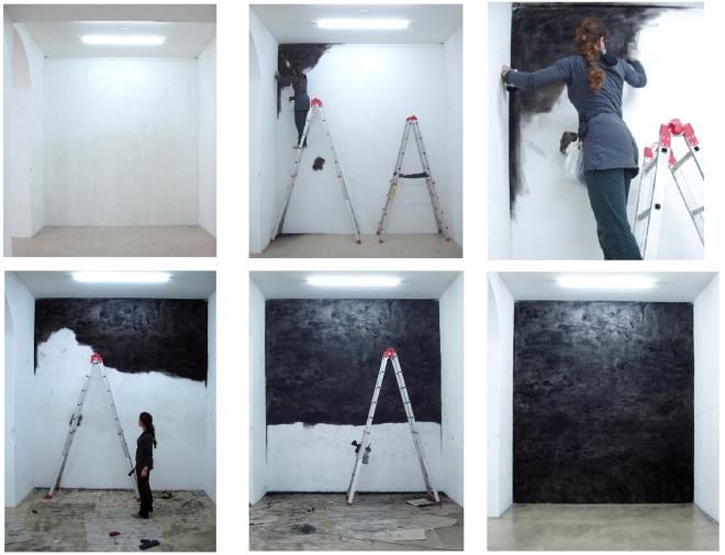 Comuni luoghi di festa - particolato di carbonio su muro a fresco 2010